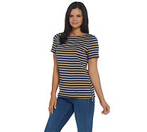 BROOKE SHIELDS Timeless Ponte Striped Short- Sleeve Top w/ Side Zip Detail - A341952