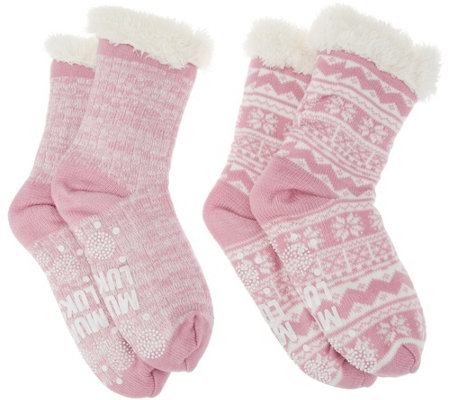 MUK LUKS Jojoba Faux Shearling Cabin Socks Set of 2