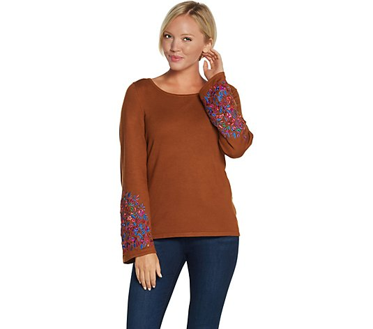 Linea by Louis Dell'Olio Whisper Knit Sweater with Embroidery