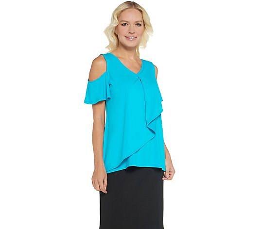 """As Is"" H by Halston Jet Set Jersey V-Neck  Top"