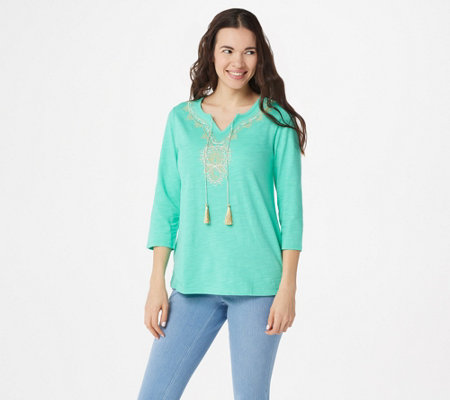 Belle by Kim Gravel Slub Knit Gold Embroidered Top with Tassels