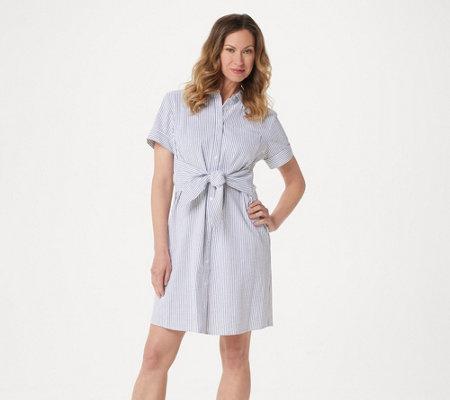 10b47fc437 Denim   Co. Petite Seersucker Tie Front Shirt Dress - Page 1 — QVC.com