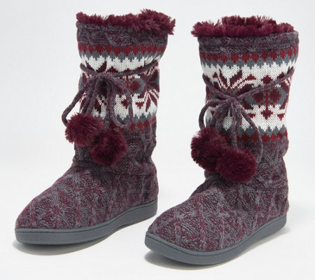 MUK LUKS Gracie Tall Slippers Boot with Faux Fur Poms