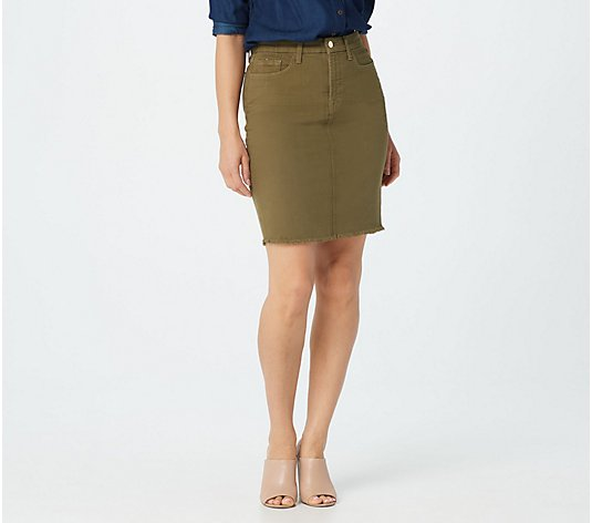 Jen7 by 7 for All Mankind Pencil Skirt with Frayed Hem - Army