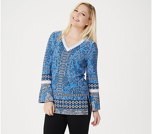 """As Is"" Susan Graver Printed Liquid Knit Tunic with Crochet Lace"