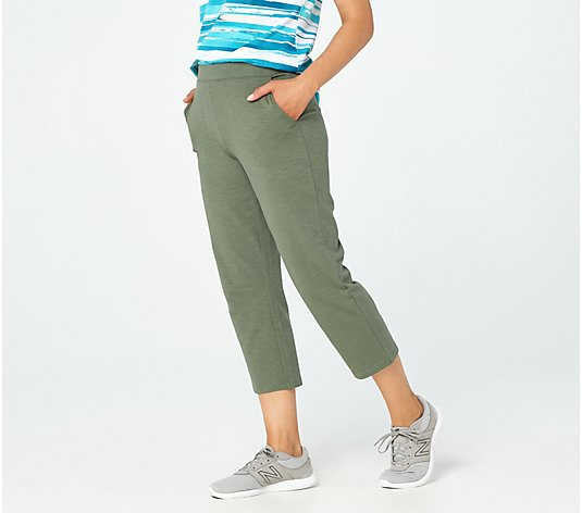 Denim & Co. Active Textured French Terry Pull-On Crop Pants