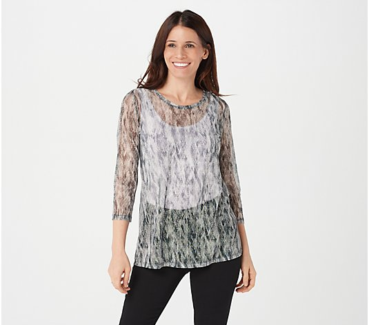 LOGO Layers by Lori Goldstein Printed 3/4 Sleeve Sheer Mesh Top