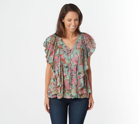 """As Is"" Haute Hippie Tribe 'Karen' Printed Flutter-Sleeve Blouse"