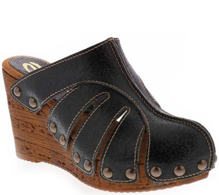 Sbicca Leather Wedge Clogs Slauson