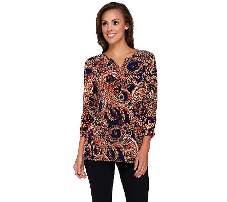 Susan Graver Printed Liquid Knit Ruched 3/4 Sleeve Top
