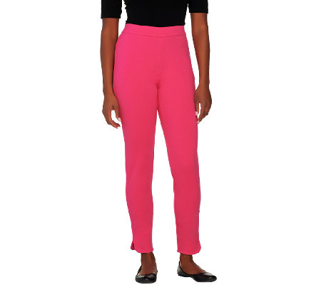 Isaac Mizrahi Live! Petite Ponte Knit Side Zip Ankle Pants