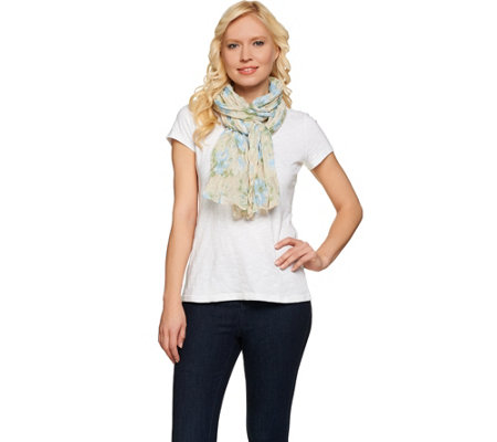 "Denim & Co. Spring Floral Printed Scarf 28"" x 72"""