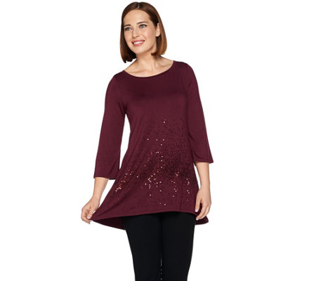 Belle by Kim Gravel Sequin Tunic with High Low Hem