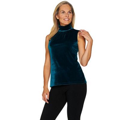 Susan Graver Stretch Velvet Sleeveless Turtleneck Top