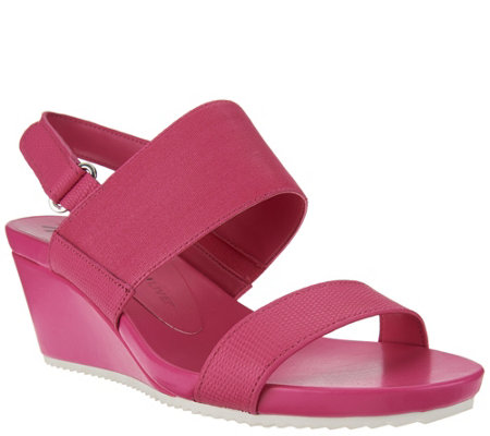 """As Is"" Isaac Mizrahi Live! Double Strap Leather Wedge Sandals"