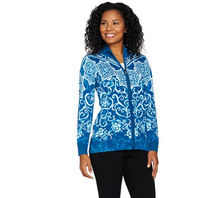 Bob Mackie's Printed Zip Front Sweater Knit Cardigan