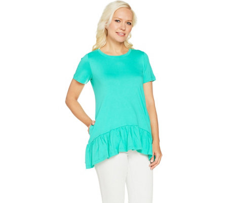 LOGO by Lori Goldstein Solid Knit Top with Drop Waist Seam