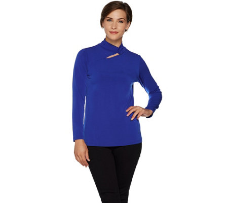 Every Day by Susan Graver Liquid Knit Mock Neck Top