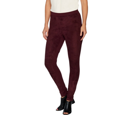 H by Halston Petite Faux Suede Motorcycle Detail Leggings