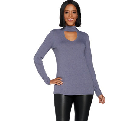 Lisa Rinna Collection Long Sleeve Hacci Top with Keyhole