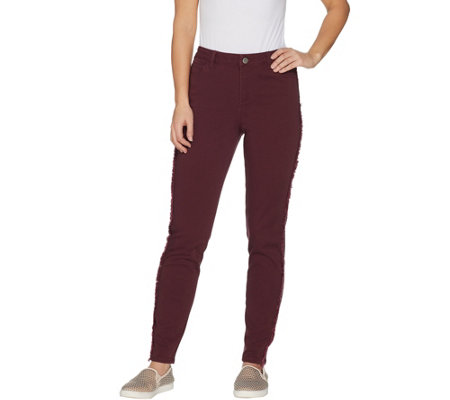 LOGO by Lori Goldstein Slim-Leg Twill Pants w/ Fringe Detail
