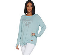 Peace Love World Tie Front Long Sleeve Comfy Knit Top - A301553