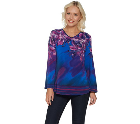 Bob Mackie's Floral Placement Print Knit Top