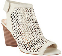 Vince Camuto Perforated Leather Peep- Toe Sandals - Dastana - A304453