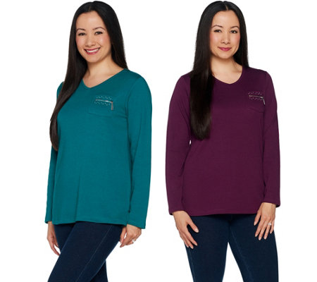 """As Is"" Quacker Factory Set of 2 Long Sleeve T-shirts with Zipper Detail"