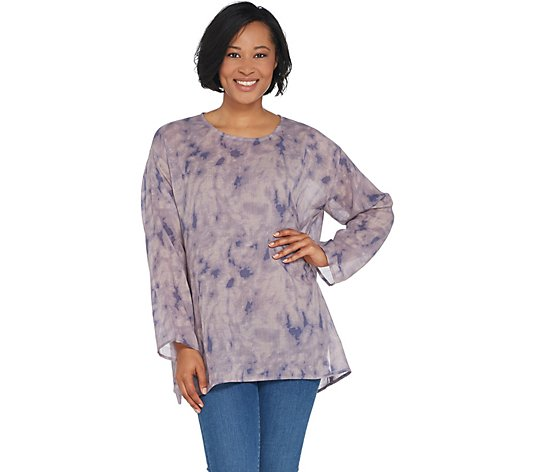 LOGO by Lori Goldstein Printed Oversized Gauze Tie-Dye Top