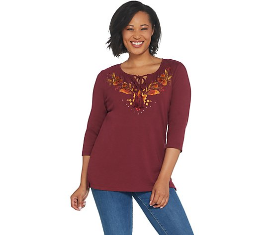 Quacker Factory 3/4-Sleeve Embroidered Knit Top with Front Tassels
