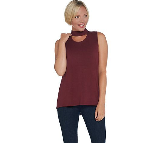 Lisa Rinna Collection Keyhole Top with Stretch Woven Neckband