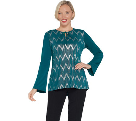 Bob Mackie's Chevron Hi-Low Knit Top