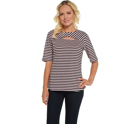 """As Is"" Denim & Co. Round Neck w/Keyhole Elbow Sleeve Striped Top"
