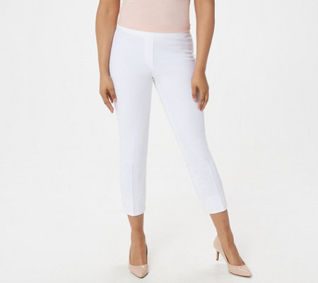 Dennis Basso Bi-Stretch Pull-On Crop Pants with Side Slits