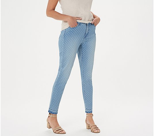 Isaac Mizrahi Live! TRUE DENIM Regular Polka Dot Ankle Jeans