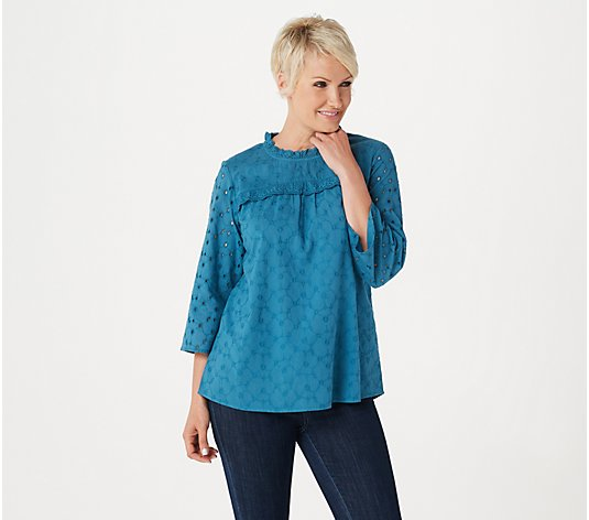 LOGO by Lori Goldstein Eyelet Woven Blouse with Ruffle Detail