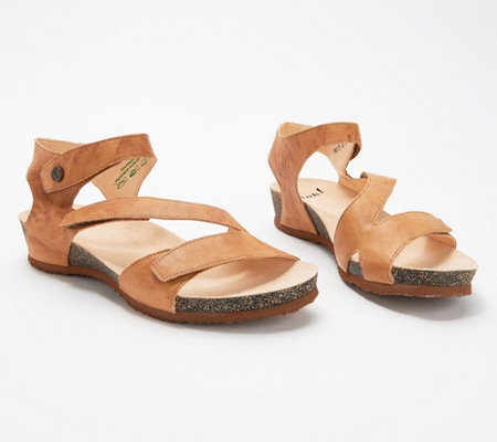 Think! Leather Adjustable Quarter Strap Sandals- Dumia