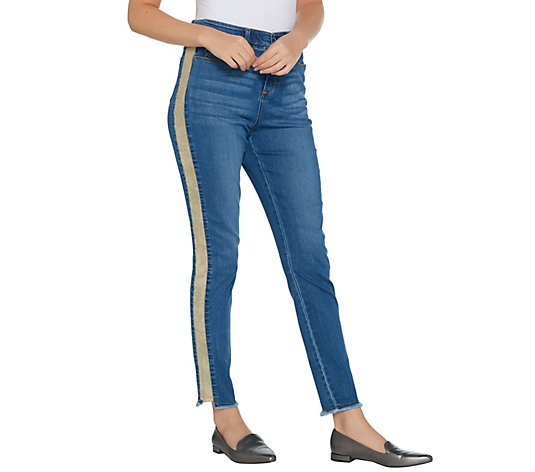 """As Is"" Kelly by Clinton Kelly Regular Ankle Jeans w/ Faux Suede"