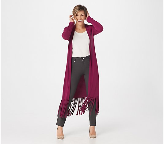 Attitudes by Renee Petite Como Jersey Duster w/ Fringe