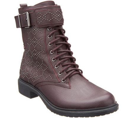 """As Is"" Vince Camuto Leather Lace-up Mid Boots - Tanowie"
