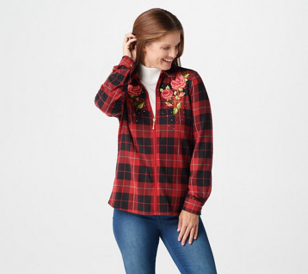 Quacker Factory Rose Embroidered Plaid Zip Big Shirt