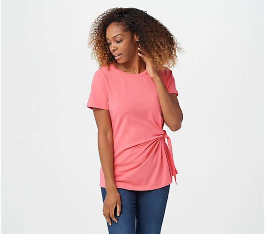 Belle by Kim Gravel TripleLuxe Knit Short-Sleeve Side Tie Top