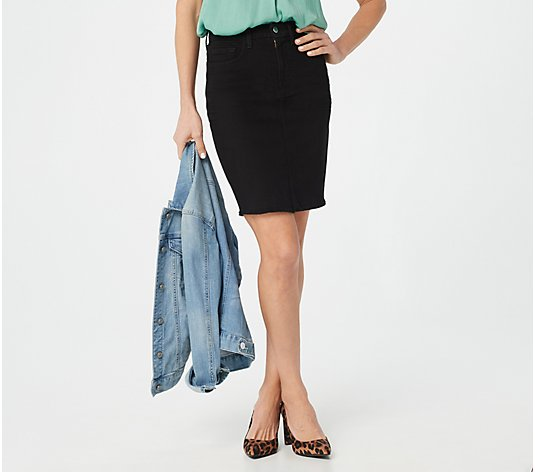 Jen7 by 7 for All Mankind Pencil Skirt with Frayed Hem - Black