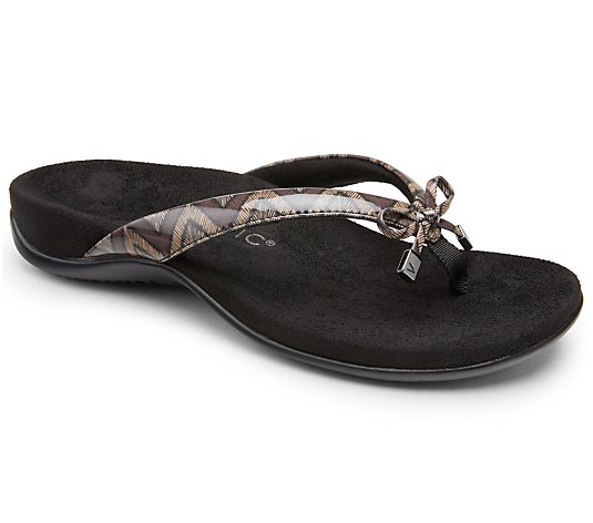 Vionic Thong Bow Sandals - Bella II Chevron