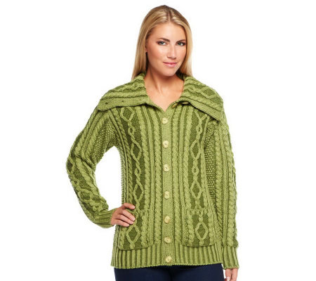 Aran Craft Convertible Collar Plaited Cardigan