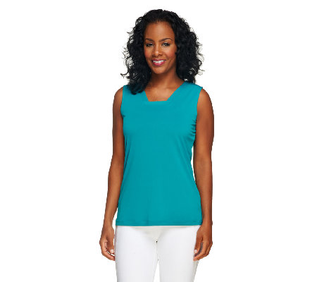 Susan Graver Essential Liquid Knit Tank with Banded Neck