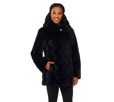 Dennis Basso Textured Faux Fur Envelope Collar Coat