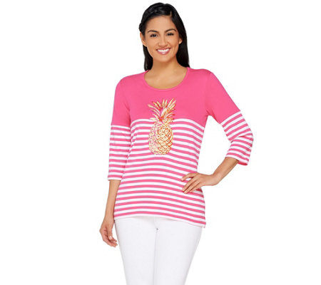 Quacker Factory Palm Beach Color Block 3/4 Sleeve Striped T-Shirt