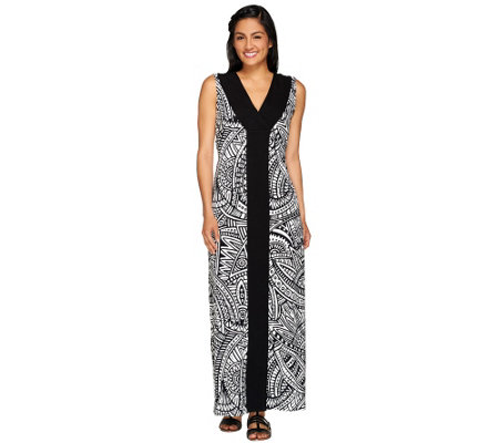 Denim & Co. Printed V-Neck Maxi Dress with Solid Front Panel